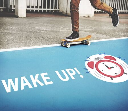 Skater boy rushing for important appointment with alarm clock illustration Stock Photo