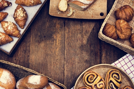 Various Fresh Baked Bakery Bread Products Stock Photo
