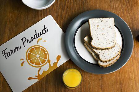Illustration of nutritious juicy orange on banner