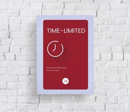 Time concept on a white brick wall 版權商用圖片