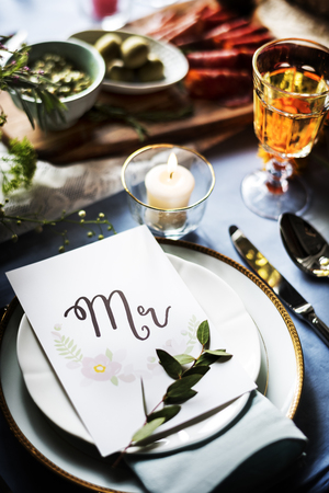 a meeting with a view to marriage: Wedding Reception Table Setting Closeup