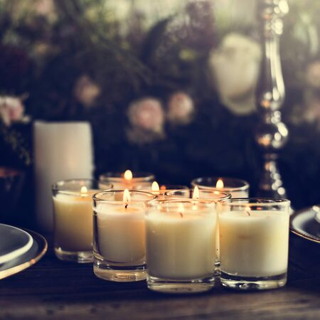 Candles Lighten Up on Table for Reception Dining in Restaurant
