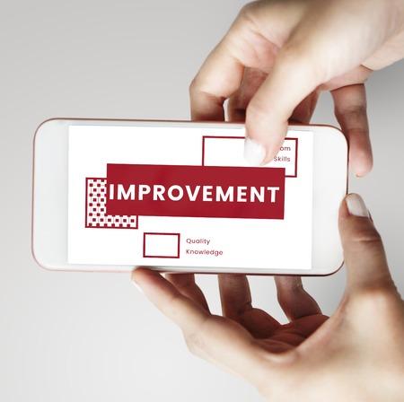 Hands Holding Smart Phone Communication gebruiken Stockfoto