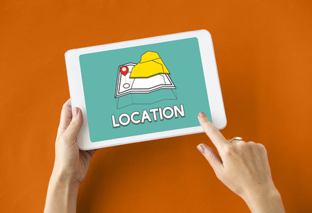 gps device: GPS location map travel graphic Stock Photo