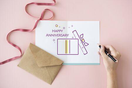 Illustration of happy anniversary gift box present on banner Reklamní fotografie - 81641581
