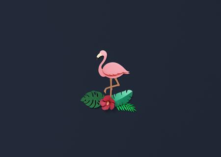 papercraft: Flamingo Nature Papercraft Leaves Plants