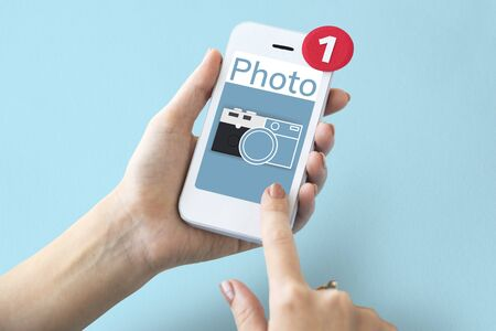 Illustration of camera collect the memories on mobile phone Stock Illustration - 81641844