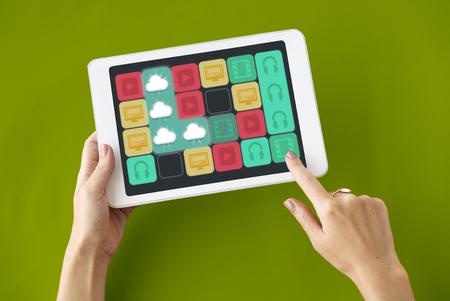 Cloud Storage Matching Line Game Icons Stock fotó