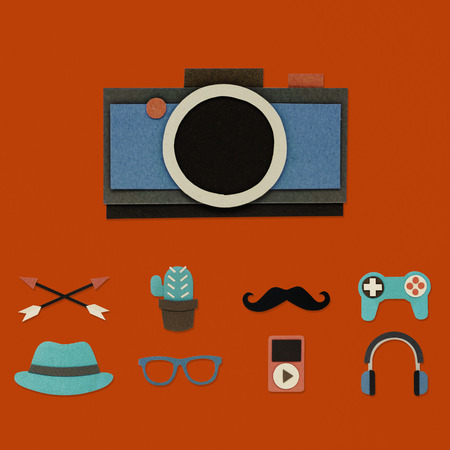 Illustration of camera and hipster lifestyle culture icon