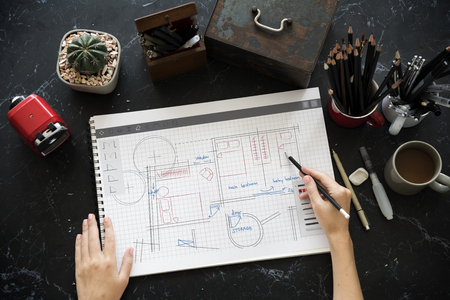 Floor Plan Brainstorming Ideas Sharing Фото со стока