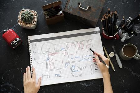 Plattegrond brainstormen over ideeën delen