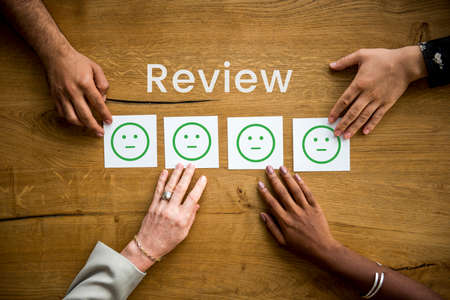 smiley: Evaluation Feedback Customer Smiley Response Stock Photo
