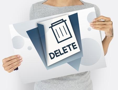 Illustratie van vuilnisbak bin elimineren verwijderen Stockfoto