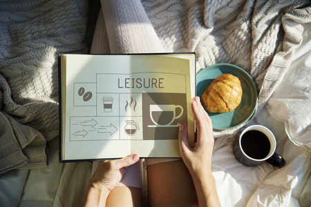 Coffee shop illustration advertisement on notebook