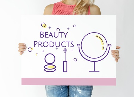 Woman holding illustration of beauty cosmetics makeover skincare banner