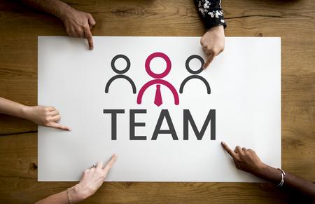 Groupe de mains, pointage, bannière, direction, entreprise, organisation, graphique Banque d'images - 81618026