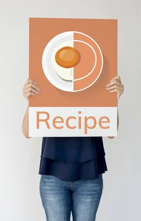 Woman holding banner of healthy food cuisine menu recipe illustration