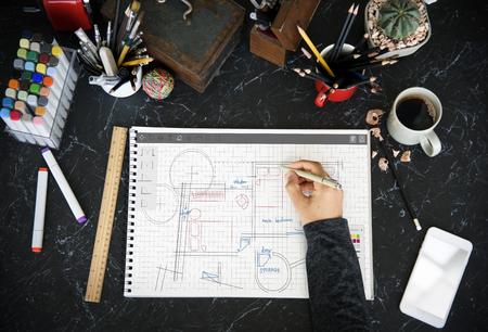 바닥 계획 브레인 스토밍 아이디어 공유 스톡 콘텐츠