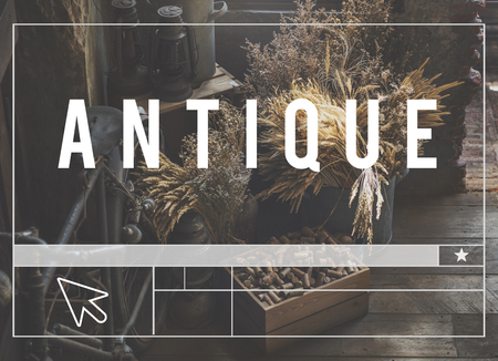 Antique Word Website Template Layout Cursor Graphic