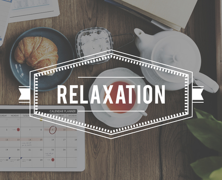 out of date: Relaxation Peace Clam Chill out Word Stock Photo