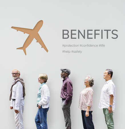 People with illustration of aviation life insurance traveling trip