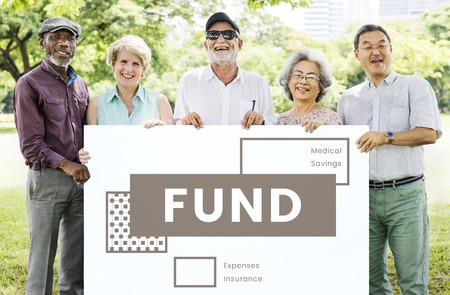 healthcare costs: Seniors holding network graphic overlay banner Stock Photo