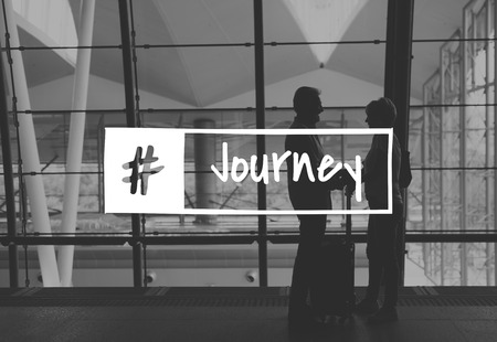 Senior Couple Travel Together Words Graphic Stok Fotoğraf