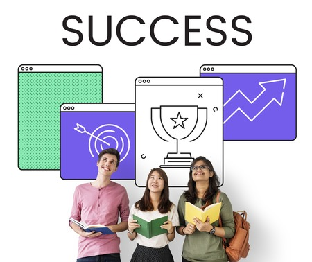 Diverse students with success concept Stock Photo
