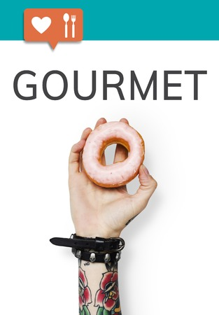 Hand holding donut network graphic overlay background Stock Photo