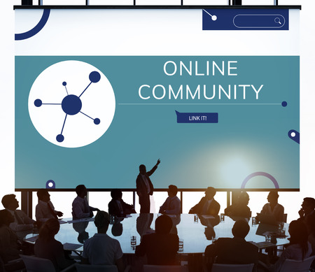 People connected with Illustration of social media online communication Stock fotó - 81656254