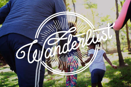 Family Enjoy Wanderlust Adventure  Journey Together Word Graphic