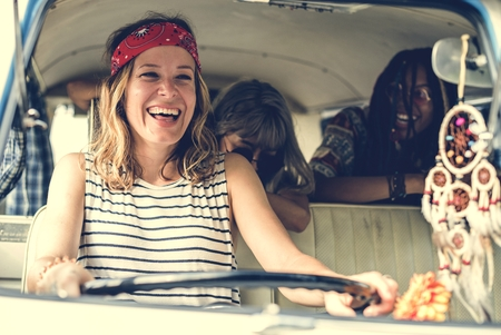 Group of Diverse Friends Travel on Road Trip Together