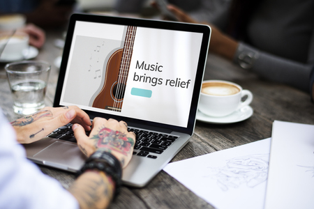 bass relief: Music concept on a device screen