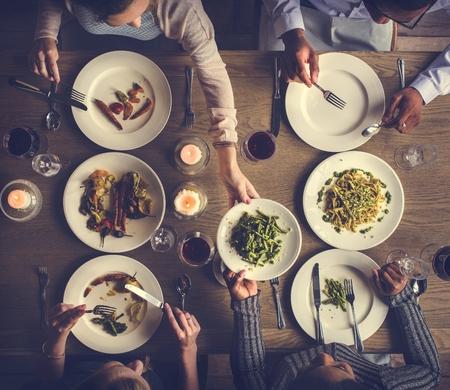Friends Gathering Eating Food Together Happiness Reklamní fotografie
