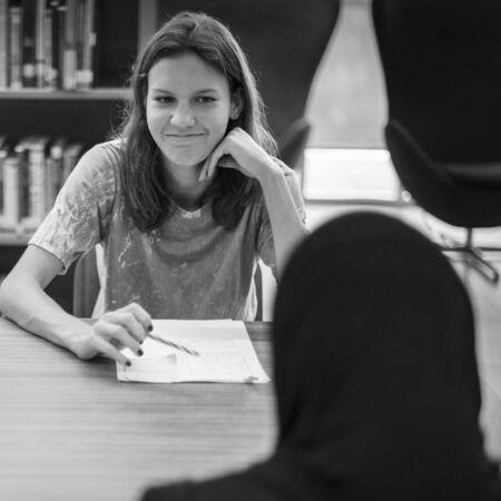 High school girl sitting in class Reklamní fotografie