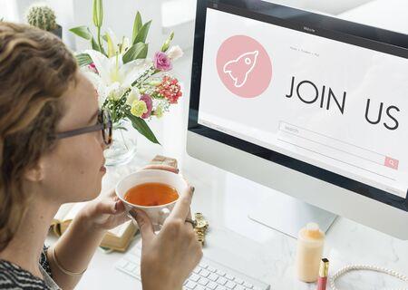 Doe mee met ons New Business Launch Plan Concept Stockfoto