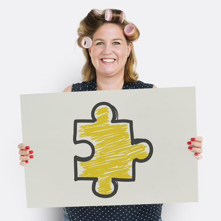 Woman hair roller smiling banner with puzzle sign