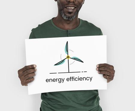 Man holding network graphic overlay billboard Stock Photo