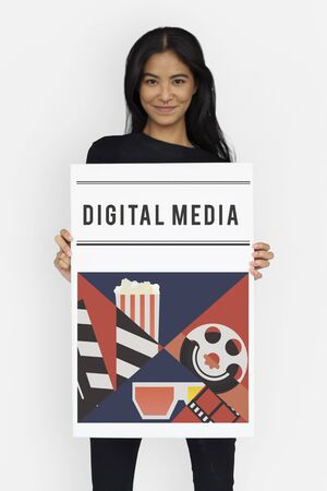 Woman holding banner of movies theatre media entertainment
