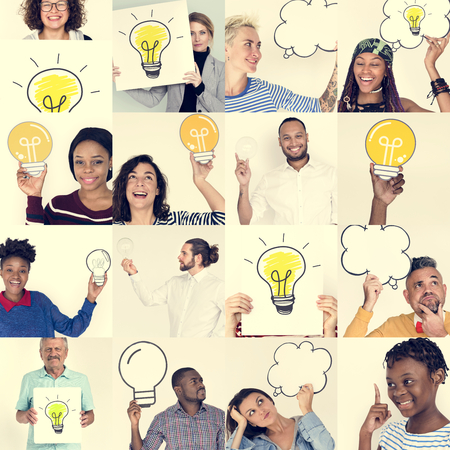 papercraft: Set of Diversity People Holding Light Bulb Studio Portrait