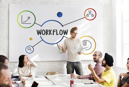 Zakelijke stappen werkstroom illustratie Concept