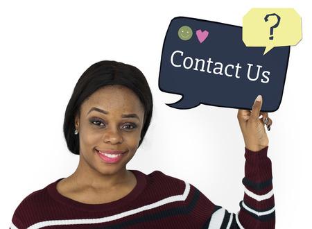 faq's: Woman holding speech bubble about customer service concept