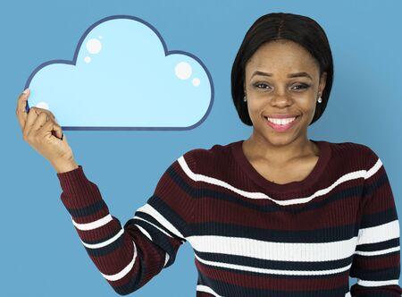 papercraft: Woman Holding Cloud Computing Papercraft Icon