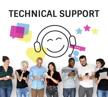 techie: Illustration of contact us online customer services