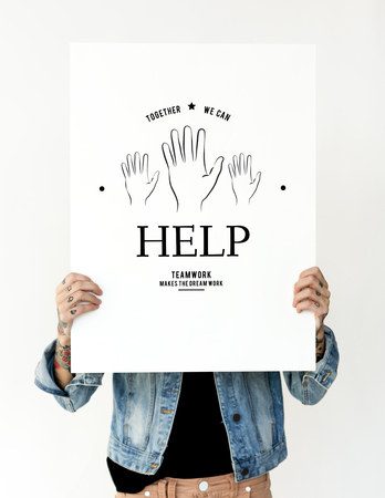 generosity: Hands holding banner covering face network graphic overlay