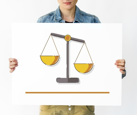 Woman holding banner of justice scale rights and law illustration