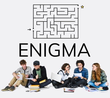 brainteaser: Group of people brainstorming about enigma concept Stock Photo