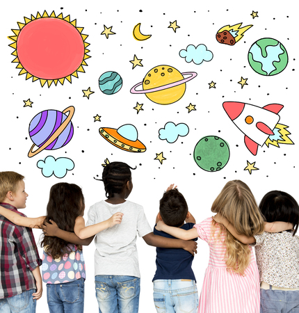 outerspace: Group of students studying astronomy outerspace Stock Photo