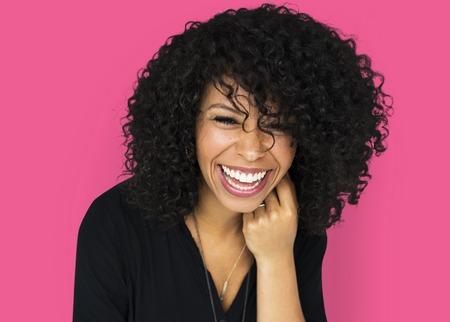 Adult woman smiling studio portrait Stock Photo