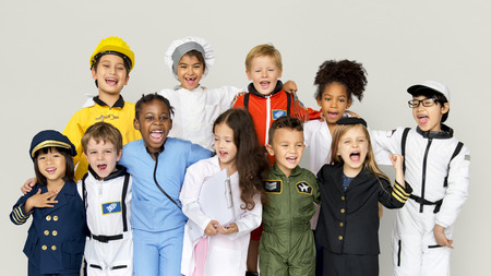 Group of Diverse Kids Wearing Career Costume Studio Portrait